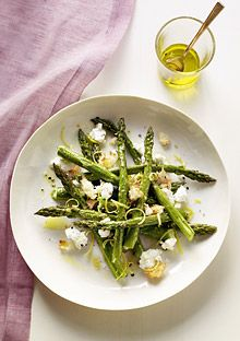 Roasted asparagus with goat cheese and toasted bread crumbs...looks great to try with Easter brunch!