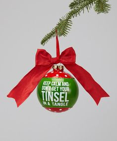 Take a look at this 'Tinsel in a Tangle' Glass Ornament by Dennis East International on #zulily today!