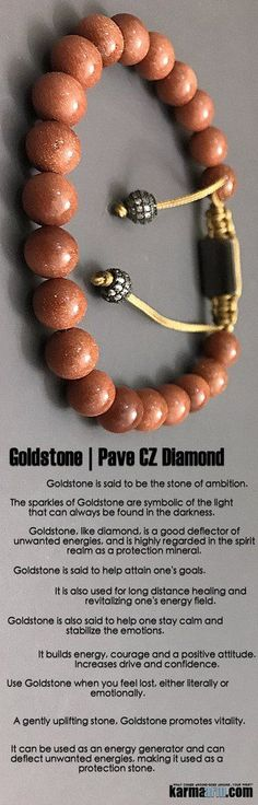 #Goldstone is the stone of ambition.  It builds energy, #courage and a positive attitude.  Increases drive and #confidence.. ♛ #BEADED #Yoga #BRACELETS #Mens #Good #Luck #womens #Jewelry #Fertility #Eckhart #Tolle #CrystalsEnergy #gifts #Chakra #reiki #He