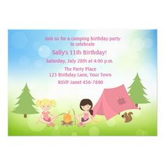 Girl's Camping Birthday 5x7 Paper Invitation Card