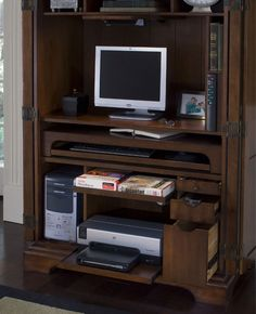 Computer Armoire Burnished Cherry By Riverside   1 800 460 0858   Free