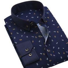BOZE Nuevos Hombres Camisas Casuales de La Moda de Manga Larga Marca Impreso Button-Up Polka Dot Floral Formal de Negocios Vestido de Los Hombres camisa