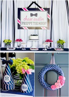 Adorable Pink & Navy Preppy Tie Party! Bow tie shpaed cornhole base, activity kits, bow tie cookies,