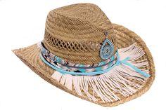 Strand Ibiza hoed (Cowboy), Ibiza mode, Blauw en wit 0424