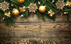 壁紙をダウンロードする 4k, クリスマスの飾り, 謹賀新年, メリークリスマス, 木の背景, 黄金の装飾, クリスマス, 新年