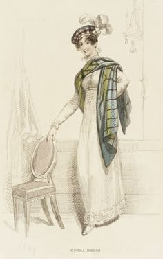 Opera Dress, fashion plate, hand-colored engraving on paper, published London, March 1814.