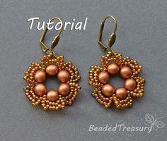 """FLOWER TALE""  beadwoven earrings FREE TUTORIAL  ©2014 by Iulia Postică  from BeadedTreasury.com"