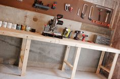 basement work shop bench