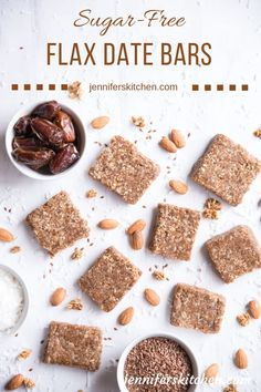 Step up your health with these dairy-free flax date bars! keep your joints Date Energy Bars, Date Bars, Date Recipes, Baby Food Recipes, Dessert Recipes, Healthy Protein Bars, Protein Bar Recipes, Vegan Recipes, Vegan Dating