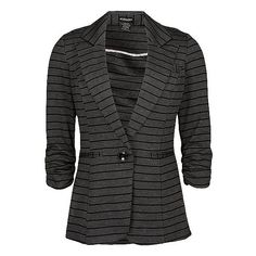 Stoosh Striped Blazer ($50) ❤ liked on Polyvore featuring outerwear, jackets, blazers, tops, coats, blazer jacket, ruched sleeve blazer, stripe blazer, bleach jacket and striped blazer