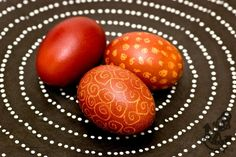 Traditional Polish Easter Eggs Dyed in Onion Shells