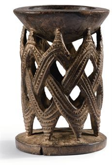"""Yoruba Agere Ifa (Divination Cup), Nigeria Comment: Agere-Ifa in the form of a woven basket. in Nigeria the palm tree is worshipped as the """"Tree of Life,"""" and the palm frond basket nkata (or ekete) like the wooden Agere, is feminine and associated with harvest. The woven basket is also one of the key symbols in Yoruba as well Igbo creation myth."""