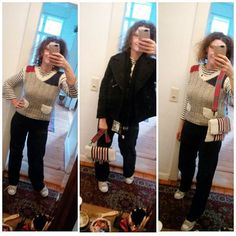 Tagesdress: Hose, Pullunder und Tasche von elbfeeberlin, Longsleeve Armor Lux, Cabanjacke HM, Schal Levis, Chucks Converse. Today's outfit: Flarejeans, pullunder and crossbody bag by elbfeeberlin, longsleeve Armor Lux, cabanjacket HM, scarf Levis, Chucks Converse. #elbfeeberlin #berlin #berlinblogger #berlinbloggt #berlinfashion #designer #Designerin #fashion #fashionblogger #fashiondesigner #fashiondiary #fashionofinstagram #fashionoftheday #instafashion #knittersofinstagram…
