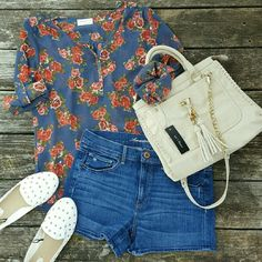 """American Eagle High Rise Denim Shorts American Eagle brand. Size 12. Stretch. High rise jean shorts. Medium wash. Button and zipper front. Prefect conditon! Waist- lying flat, from side to side- 16"""" Rise- 10"""" Inseam- 3""""  *Floral tunic (size Large) and cream tassel satchel in 1st photo are also available in my closet. American Eagle Outfitters Shorts Jean Shorts"""