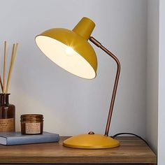 Finished in vibrant ochre yellow this retro style desk lamp is crafted with durable metal, featuring a stylish curved arm and large domed head. Retro Bedside Tables, Bedside Table Lamps, Grey Desk Lamps, Kids Desk Lamp, Small Desk Lamp, Yellow Desk, Yellow Lamps, Office Lamp, Office Nook
