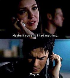 The Vampire Diaries | Delena....Made me cry! Elena you did meet him first! Damon just compelled you to forget!!