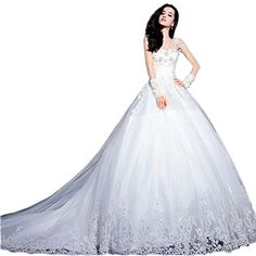 Ikerenwedding Women's Lace Applique Straps Empire Wedding Gown With Trailing White US14 Ikerenwedding http://www.amazon.com/dp/B01E3MFOD8/ref=cm_sw_r_pi_dp_yQfdxb1CG22EY