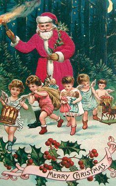 postcardiva postcard blog: Silk SANTA CLAUS Christmas Postcards