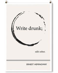 """Circle"" Hemingway art print by Obvious State. Minimalist black and white wall art."