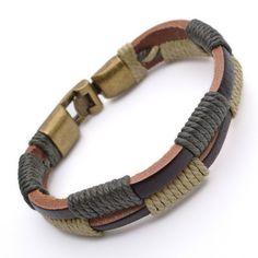 14mm Tribal Leather Wristband Surf brown Mens Bracelet B488. $3.99, via Etsy.
