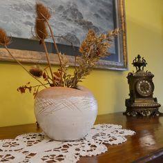 Vaso smaltato ripiegato e inciso - Handmade Ceramic Vase with engravings on the top