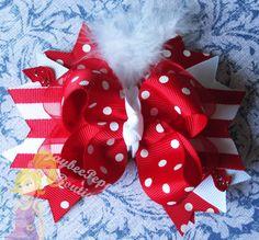 Christmas hair bow Santa Claus white marabou feather hair clip polka dot headband cute stripes gift holiday over the top boutique headband