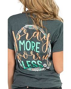 b902dcae66d Girlie Girl Originals Women s Heather Charcoal Pray More Short Sleeve Tee  Simply Southern