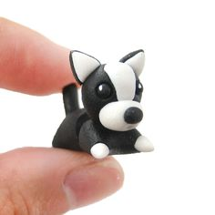 Handmade Boston Terrier Puppy Dog Animal Fake Gauge Polymer Clay Stud Earring