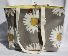 Handbag grey daisy with yellow polka dotszipped pocket reversible shopper for mum unique work bag fits a binder for the student handmade (31.50 GBP) by GoossensBags
