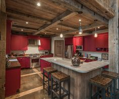 Rustic Barn Transformed into Gorgeous Timber Frame Barn House by RMT Architects Homey Kitchen, Rustic Kitchen Design, Eclectic Kitchen, Farmhouse Style Kitchen, Kitchen Interior, Kitchen Decor, Kitchen Ideas, Pantry Ideas, Kitchen Pantry
