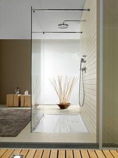 receveur de douche extra plat, déco zen Deco Zen, Bathroom Lighting, Bathrooms, Mirror, Furniture, Home Decor, Bath, Diy Ideas For Home, Dish