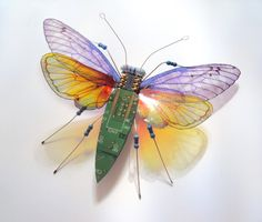 The Hoopla Circuit Board Winged insect by DewLeaf on Etsy