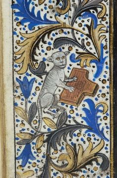 Cat playing a psaltery   from a Belgian Book of Hours, c. 1470 [Pierpont Morgan Library] @Cat Museum
