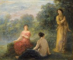 Henri Fantin-Latour - 1899 Three Nymphs by a Spring oil on canvas 55 x 66 cm Henri Fantin Latour, James Mcneill Whistler, Gustave Courbet, Cleveland Museum Of Art, Old Master, Impressionism, Printmaking, Oil On Canvas, Modern Art