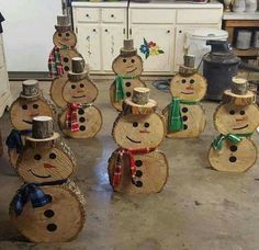 Snowmen made out of wood