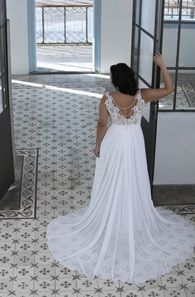 Style #PS1429 -1650 - back of a Crochet Lace Plus Size Wedding Dress