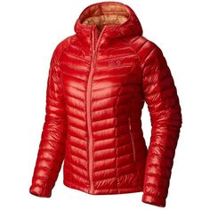 Mountain Hardwear Women's Ghost Whisperer Hooded Down Jacket featuring polyvore, women's fashion, clothing, outerwear, jackets, scarlet red, hooded zip jacket, red zipper jacket, lightweight jackets, down jacket and down filled jacket