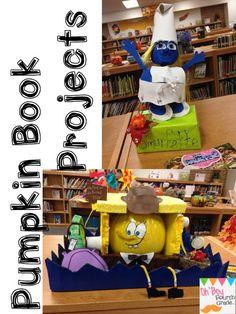Oh' Boy Grade: 2 weeks, fever, and I was a minion Halloween Stuff, Halloween Crafts, School Days, School Stuff, Book Character Pumpkins, Pumpkin Books, Pumpkin Contest, Book Reports, School Decorations