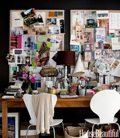 "Inspiration board. ""Our home office is in our bedroom, so we made the wall about dreaming,"" Heekin says. The couple pins inspiring images on linen pinboards from Pottery Barn."