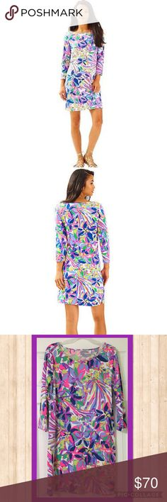 Lilly Pulitzer Havin A Blast Marlowe Dress NWT Large Lilly Pulitzer Havin A Blast Marlowe Dress  -100% Cotton -Imported -Machine Wash -Three-quarter sleeve dress in allover patterning featuring bateau neckline Lilly Pulitzer Dresses