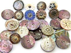 29-Antique-Vintage-metal-buttons-victorian-cut-steel-picture-carved-shell-MOP