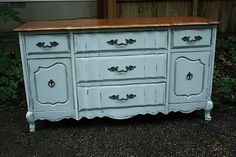 #Love the softened look #Cabot Dune #Grey gives this #dresser #transformation.