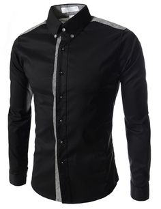 (AL972-BLACK) Slim Fit Stretchy 2 Tone Checker Patched Long Sleeve Shirts