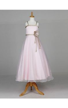 Pretty Sleeveless Organza And Satin Wedding/Evening Flower Girl Dress With Flower