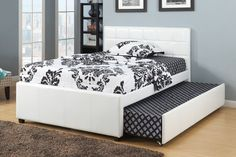 """Bed With Trundle With Slats -F9216 - Bed With Trundle With Slats -F9216Style And Function Matters When It Comes To This Espresso Colored Faux Leather Upholstered Bedframe. It Also Includes A Lower Trundle With Extra Sleeping Space For A Guest. Twin Size.SKU: F9216Manufacturer: Updated FurnitureCategory: Queen/King/Twin/FullMaterial: LeatherDimensions: Twin - 76"""" x 43"""" x 7"""", Weight: 87 LbsFull - 77"""" x 43"""" x 8"""", Weight: 105 Lbs Queen Trundle Bed, Pop Up Trundle Bed, Full Bed With Trundle, Full Size Daybed, Trundle Beds, Twin Beds, Twin Twin, Full Platform Bed, Upholstered Platform Bed"""