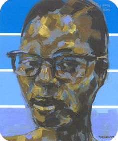 girl with glasses, by Jeff Wrench. acrylic on paint chip.