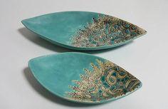Turquoise ceramic bowl set with ornament, orginal decoration,handmade,  Hanja by htceram on Etsy
