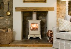 Would love to be able to have this kind of fireplace in my living room. Cottage Living, My Living Room, Home And Living, Living Room Decor, Commercial Interior Design, Cottage Interiors, Ideal Home, New Homes, Decoration