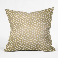 Elisabeth Fredriksson Little Hearts On Gold Throw Pillow | DENY Designs Home Accessories