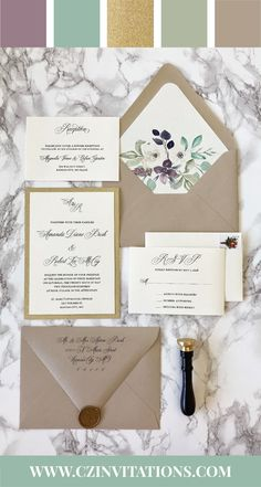 Gold glitter wedding invitation with plum and green watercolor floral envelope liner! these are unique invitations that are sure to impress your guests! #weddinginvite #2020wedding  wedding color ideas, wedding invitations, wedding invite, glitter invitation, floral invitation, 2020 wedding colors